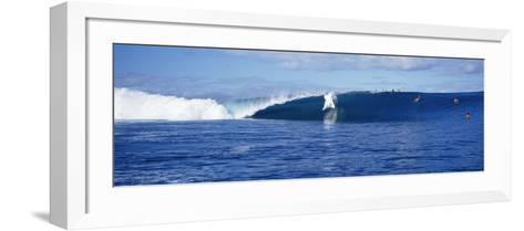 Surfers in the Sea, Tahiti, French Polynesia--Framed Art Print