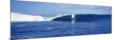 Surfers in the Sea, Tahiti, French Polynesia--Mounted Photographic Print