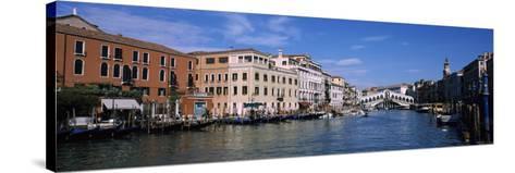 Bridge across a Canal, Rialto Bridge, Grand Canal, Venice, Veneto, Italy--Stretched Canvas Print