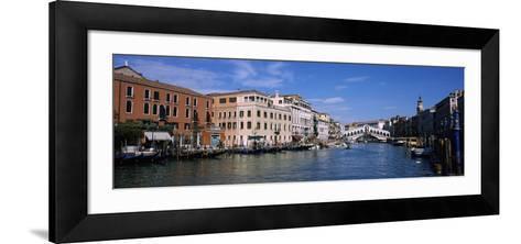 Bridge across a Canal, Rialto Bridge, Grand Canal, Venice, Veneto, Italy--Framed Art Print