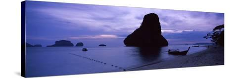 Silhouette of a Longtail Boat, Railay Beach, Krabi, Thailand--Stretched Canvas Print