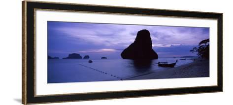 Silhouette of a Longtail Boat, Railay Beach, Krabi, Thailand--Framed Art Print