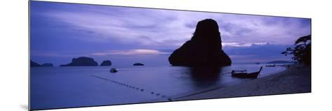 Silhouette of a Longtail Boat, Railay Beach, Krabi, Thailand--Mounted Photographic Print