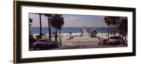 Pier over an Ocean, Manhattan Beach Pier, Manhattan Beach, Los Angeles County, California, USA--Framed Art Print