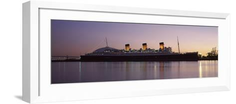 Rms Queen Mary in an Ocean, Long Beach, Los Angeles County, California, USA--Framed Art Print