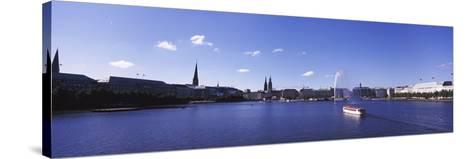 Buildings at the Waterfront, Alster Lake, Hamburg, Germany--Stretched Canvas Print