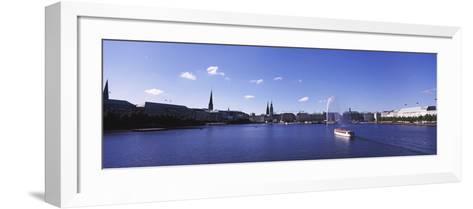 Buildings at the Waterfront, Alster Lake, Hamburg, Germany--Framed Art Print