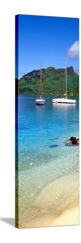 Sailboats in the Ocean, Tahiti, Society Islands, French Polynesia--Stretched Canvas Print