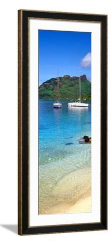 Sailboats in the Ocean, Tahiti, Society Islands, French Polynesia--Framed Art Print