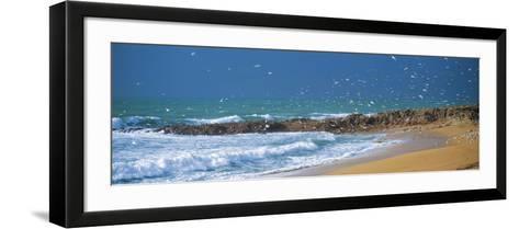 Waves Breaking on the Coast, Morbihan, Brittany, France--Framed Art Print
