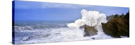 Waves Breaking on the Coast, Shore Acres State Park, Oregon, USA--Stretched Canvas Print