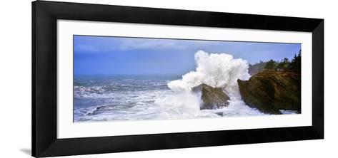 Waves Breaking on the Coast, Shore Acres State Park, Oregon, USA--Framed Art Print