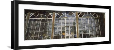 Art Deco Windows of House in Front of Castle, Bran Castle, Brasov, Transylvania, Mures County, R...--Framed Art Print