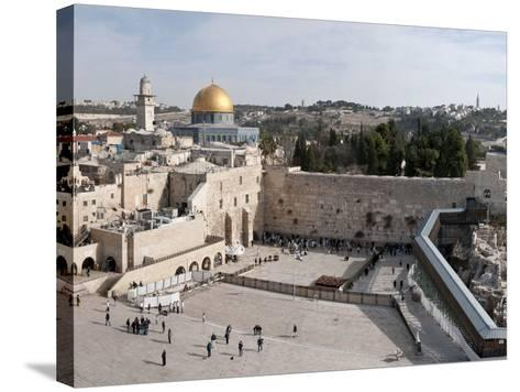 Tourists Praying at a Wall, Wailing Wall, Dome of the Rock, Temple Mount, Jerusalem, Israel--Stretched Canvas Print