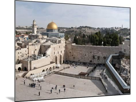 Tourists Praying at a Wall, Wailing Wall, Dome of the Rock, Temple Mount, Jerusalem, Israel--Mounted Photographic Print