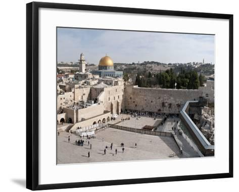 Tourists Praying at a Wall, Wailing Wall, Dome of the Rock, Temple Mount, Jerusalem, Israel--Framed Art Print
