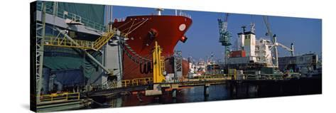 Hanjin Heavy Industries and Construction Shipyard, Busan, South Korea--Stretched Canvas Print
