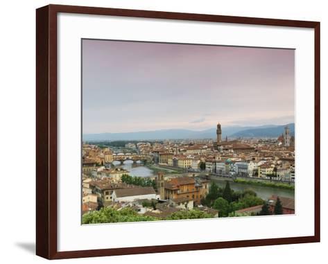 Buildings in a City, Ponte Vecchio, Arno River, Duomo Santa Maria Del Fiore, Florence, Tuscany, ...--Framed Art Print