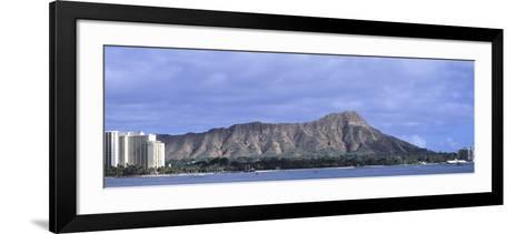 Buildings with Mountain Range in the Background, Diamond Head, Honolulu, Oahu, Hawaii, USA--Framed Art Print