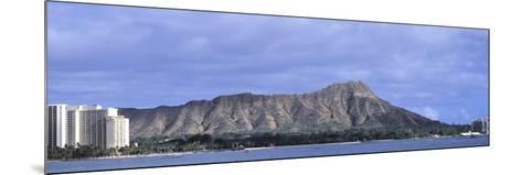 Buildings with Mountain Range in the Background, Diamond Head, Honolulu, Oahu, Hawaii, USA--Mounted Photographic Print