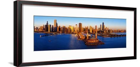 Sunrise at Navy Pier, Lake Michigan, Chicago, Cook County, Illinois, USA--Framed Art Print