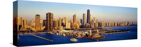 Aerial View of a City, Navy Pier, Lake Michigan, Chicago, Cook County, Illinois, USA--Stretched Canvas Print