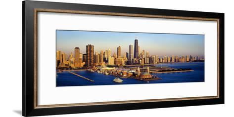 Aerial View of a City, Navy Pier, Lake Michigan, Chicago, Cook County, Illinois, USA--Framed Art Print