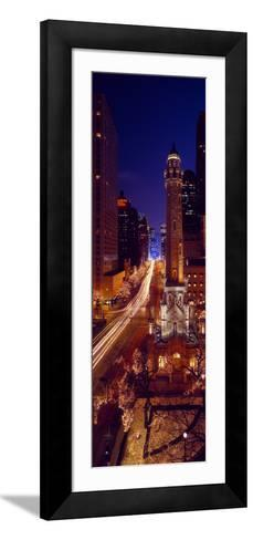 Buildings Lit Up at Night, Water Tower, Magnificent Mile, Michigan Avenue, Chicago, Cook County,...--Framed Art Print