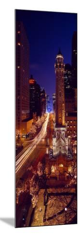 Buildings Lit Up at Night, Water Tower, Magnificent Mile, Michigan Avenue, Chicago, Cook County,...--Mounted Photographic Print