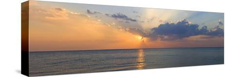 Sunset over Gulf of Mexico from Venice, Sarasota County, Florida, USA--Stretched Canvas Print