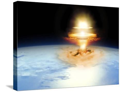 Planet Earth with Atomic Blast--Stretched Canvas Print