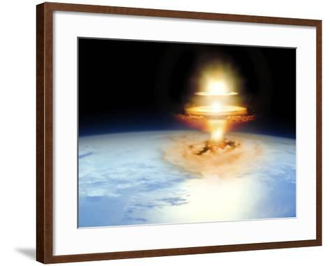 Planet Earth with Atomic Blast--Framed Art Print