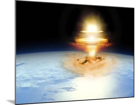 Planet Earth with Atomic Blast--Mounted Photographic Print
