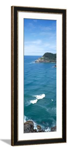 Island in the Pacific Ocean, Heceta Head Light, Oregon Coast, Oregon, USA--Framed Art Print
