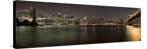 Brooklyn Bridge and Manhattan Bridge across East River at Night, Manhattan, New York City, New Y...--Stretched Canvas Print