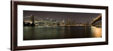 Brooklyn Bridge and Manhattan Bridge across East River at Night, Manhattan, New York City, New Y...--Framed Art Print