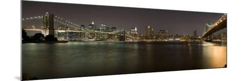 Brooklyn Bridge and Manhattan Bridge across East River at Night, Manhattan, New York City, New Y...--Mounted Photographic Print