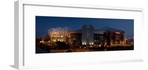 Football Stadium Lit Up at Night, Old Trafford, Greater Manchester, England--Framed Art Print