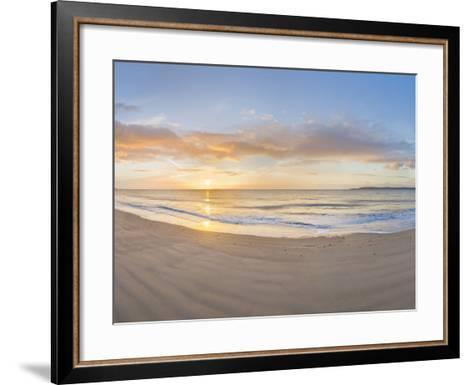 Sunrise over the Sea, Tenby, Pembrokeshire, Wales--Framed Art Print