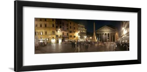 Town Square with Buildings Lit Up at Night, Pantheon Rome, Piazza Della Rotonda, Rome, Lazio, Italy--Framed Art Print