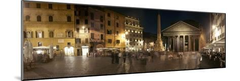 Town Square with Buildings Lit Up at Night, Pantheon Rome, Piazza Della Rotonda, Rome, Lazio, Italy--Mounted Photographic Print