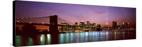 Skyscrapers Lit Up at Night, World Trade Center, Lower Manhattan, Manhattan, New York City, New ...--Stretched Canvas Print