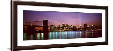 Skyscrapers Lit Up at Night, World Trade Center, Lower Manhattan, Manhattan, New York City, New ...--Framed Art Print