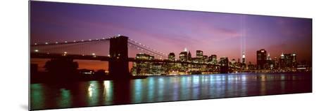 Skyscrapers Lit Up at Night, World Trade Center, Lower Manhattan, Manhattan, New York City, New ...--Mounted Photographic Print