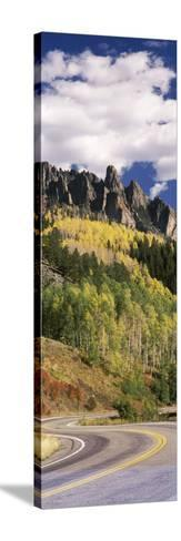 Winding Road Passing Through Mountains, Jackson Guard Station, Ridgway, Colorado, USA--Stretched Canvas Print