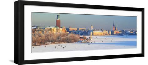 People Strolling across Frozen Riddarfjarden, Riddarholmen, Stockholm, Sweden--Framed Art Print