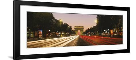 Traffic on the Road, Avenue Des Champs-Elysees, Arc De Triomphe, Paris, Ile-De-France, France--Framed Art Print