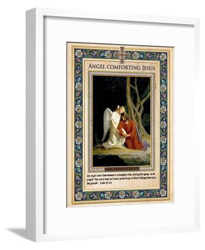 Gethsemane: Angel Comforting Jesus-Carl Bloch-Framed Art Print