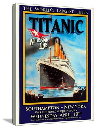 Titanic White Star Line Travel Poster 1-Jack Dow-Stretched Canvas Print