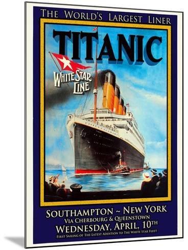 Titanic White Star Line Travel Poster 1-Jack Dow-Mounted Giclee Print